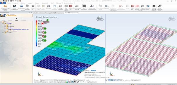 Advance Design Modul (ADM) – Návrh a posouzení výztuže železobetonové desky
