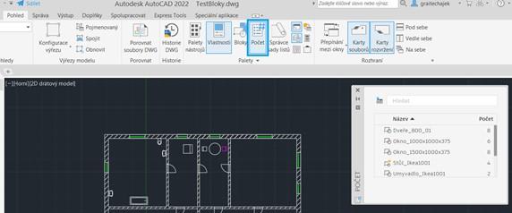 Autodesk AutoCAD - Toolpaleta Počet